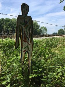 Wooden figure to remember Bergen-Belsen victims